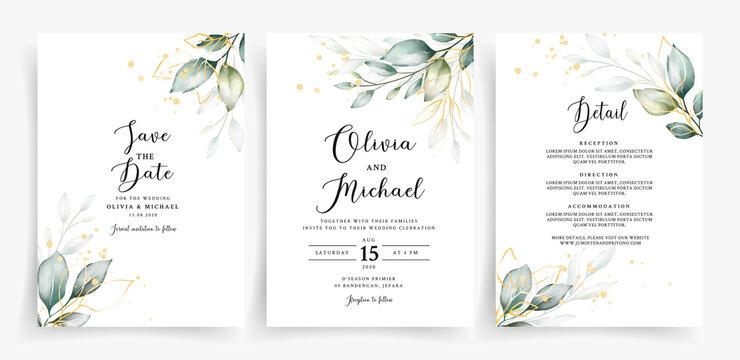 Beautiful greenery with geometric frame on wedding invitation card template