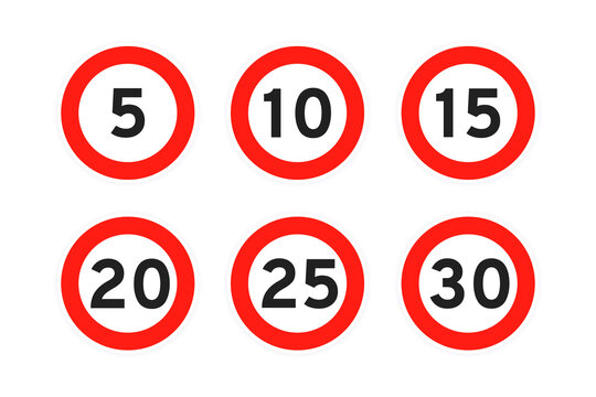 Speed limit 5,10,15,20,25,30 round road traffic icon sign flat style design vector illustration set isolated on white background. Circle standard road sign with number kmh.