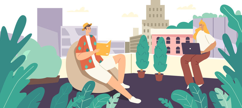 Relaxed Characters Sit in Comfortable Armchair Relax on Rooftop Greenhouse. Man Enjoying Reading, Woman Work on Laptop