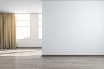 Modern white concrete interior with city view, sunlight and mockup place on blank wall. Mock up, 3D Rendering.