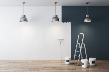 Obraz Modern grey interior before and after repairs with mock up place on white concrete wall and wooden floor. 3D Rendering. - fototapety do salonu