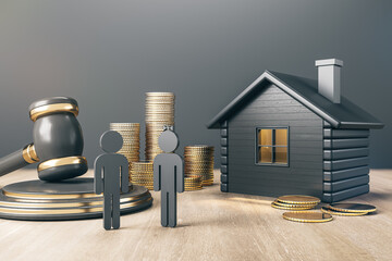 Black house with golden coin stacks, male, female and gavel on concrete and wooden background. Divorce and property division concept. 3D Rendering. - fototapety na wymiar