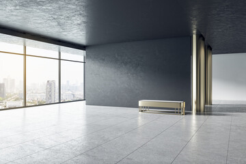 Modern grey concrete gallery interior with panoramic window city view, empty mockup place for your advertisement and seat. Mock up, 3D Rendering.