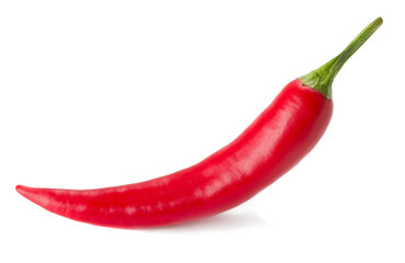 close-up view of hot chilli pepper isolated on white background