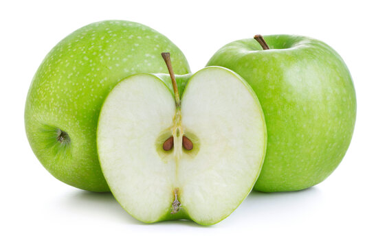 green apples isolatedon white background