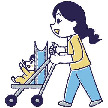 ベビーカーで移動するお母さんと男の子