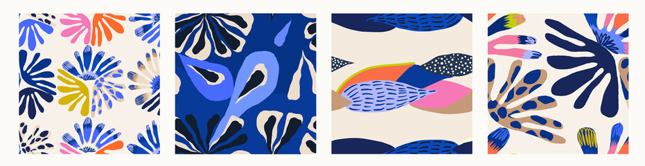 Modern colorful abstract patterns. Hand drawn trendy illustrations. Creative collage seamless patterns.