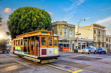 Cable Car Tram in downtown San Francisco in California