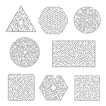 Labyrinth maze riddle, finding path and exit searching logical game. Triangular, circle and square, pentagon, rectangular shape maze, puzzle or activity vector template with line various patterns