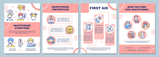Fototapeta Heatstroke symptoms brochure template. First aid. Risk factors. Flyer, booklet, leaflet print, cover design with linear icons. Vector layouts for presentation, annual reports, advertisement pages obraz