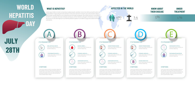 Infographic about hepatitis, what it is, people affected and types of hepatitis