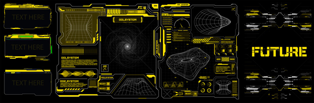 Abstract digital technology UI, UX Futuristic HUD, FUI, Virtual Interface. Callouts titles and frame in Sci- Fi style. Bar labels, info call box bars. Futuristic info boxes layout templates. Hologram