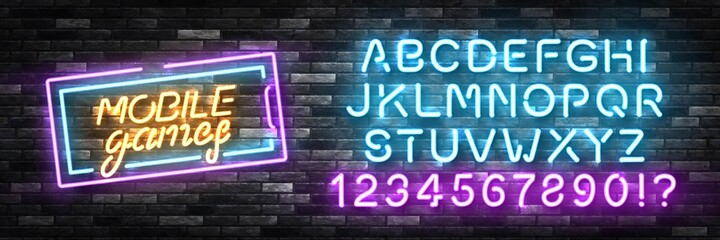 Obraz Vector realistic isolated neon sign of Mobile Games logo with easy to change color alphabet font for template decoration and branding on the wall background. Concept of cybersport and videogames. - fototapety do salonu