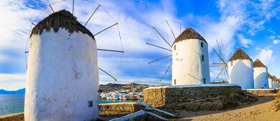 Greece, Mykonos island. famous traditional old windmills. Cyclades