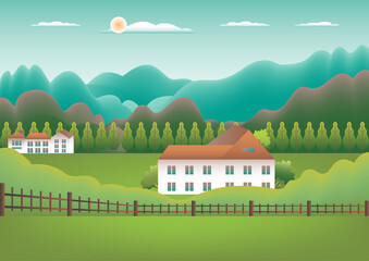 Landscape village, mountains, hills, trees, forest. Rural valley Farm countryside with house, building, fence in flat style design. Green blue gradient colors. Cartoon background vector illustration