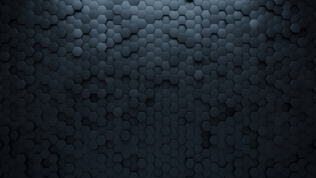 Black Tiles arranged to create a 3D wall. Futuristic, Semigloss Background formed from Hexagonal blocks. 3D Render