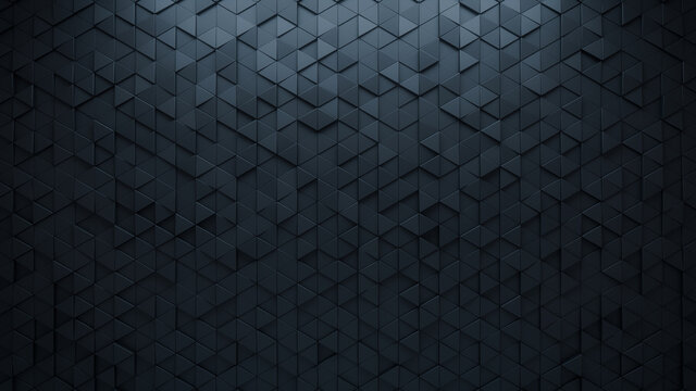 Black Tiles arranged to create a Semigloss wall. Triangular, 3D Background formed from Futuristic blocks. 3D Render