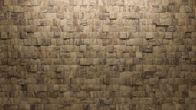 Semigloss Tiles arranged to create a Textured wall. Square, Natural Stone Background formed from 3D blocks. 3D Render