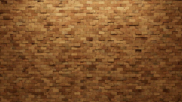 Soft sheen Tiles arranged to create a 3D wall. Natural, Rectangular Background formed from Wood blocks. 3D Render