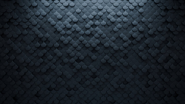 3D Tiles arranged to create a Black wall. Futuristic, Semigloss Background formed from Fish Scale blocks. 3D Render