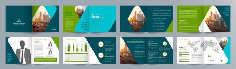 Obraz Corporate business presentation guide brochure template, Annual report, 16 page minimalist flat geometric business brochure design template, A4 size. - fototapety do salonu