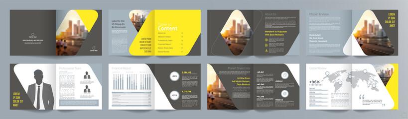 Fototapeta Corporate business presentation guide brochure template, Annual report, 16 page minimalist flat geometric business brochure design template, A4 size. obraz