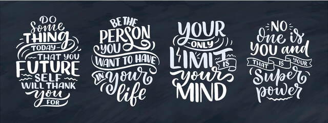 Obraz Set with lettering slogans about be yourself. Funny quotes for blog, poster and print design. Modern calligraphy texts about selfcare. Vector - fototapety do salonu