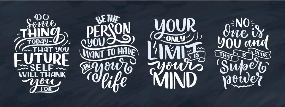 Set with lettering slogans about be yourself. Funny quotes for blog, poster and print design. Modern calligraphy texts about selfcare. Vector
