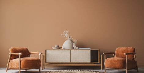 Cozy home interior with wooden furniture on brown background, empty wall mockup in boho decoration, 3d render
