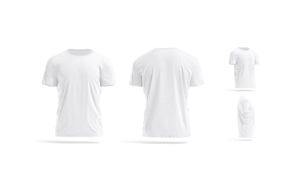 Blank white wrinkled t-shirt mock up, different views