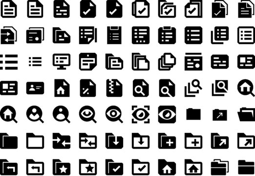 Icon pack of documents, folders, search and analysis