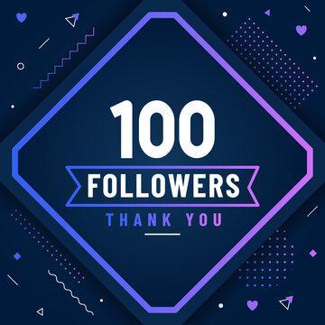 Thank you 100 followers celebration modern colorful design.