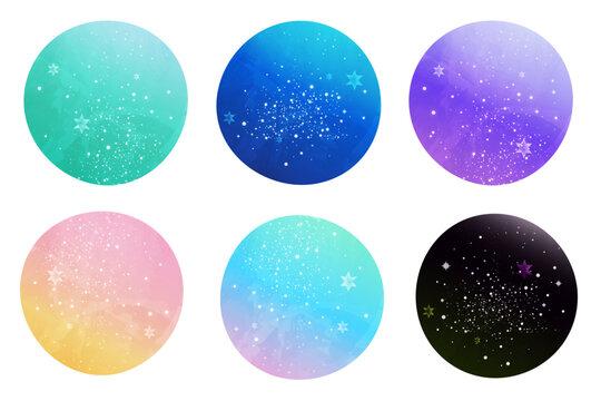 美しいグラデーションの、カラフルな星空の丸いアイコンのセット