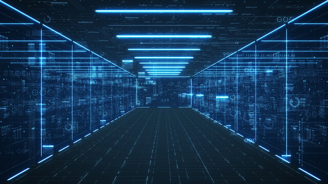 Data servers and data center concept. Motion graphic for abstract data center, data flow. Transferring of big data and storage of blockchain, server.3D Rendering.
