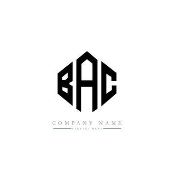 BAC letter logo design with polygon shape. BAC polygon logo monogram. BAC cube logo design. BAC hexagon vector logo template white and black colors. BAC monogram, BAC business and real estate logo.