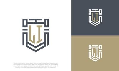 Obraz Luxury Shield Letter LI Logo Design. Initial Letter Logo. - fototapety do salonu