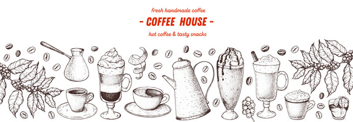 Coffee drink hand drawn collection. Sketch graphic elements for menu design. Vintage vector illustration. Various coffee drinks set. Coffee cups, beans illustration.