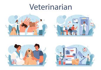 Pet veterinarian concept set. Veterinary doctor checking and treating animal - fototapety na wymiar