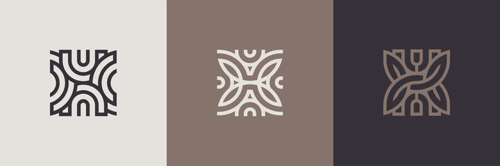 Obraz Geometric minimal logotype set. Creative linear shapes design.  - fototapety do salonu