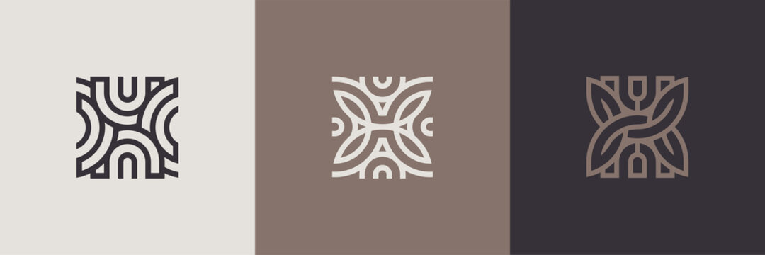 Geometric minimal logotype set. Creative linear shapes design.