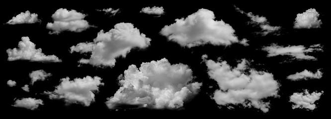 Clouds set isolated on black background. White cloudiness, mist or smog background. Collection of different clouds.