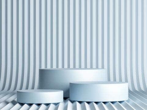 Mockup scene for product display, blue background, 3d render, 3d illustration.