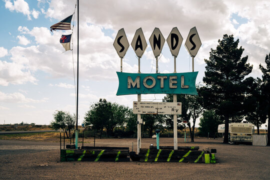 Carrizozo, New Mexico - May 7, 2021: Sign for the Sands Motel and RV park in small town New Mexico
