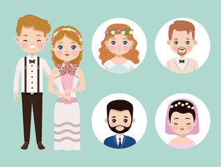six wedding characters