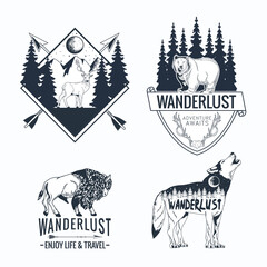 four wanderlust letterings