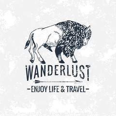 wanderlust lettering in wildebeest