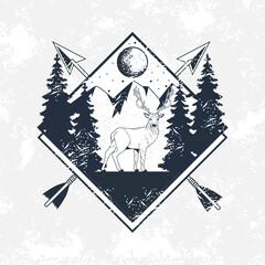 wanderlust emblem with arrows