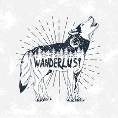 wanderlust lettering in wolf