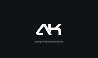 Obraz Letter Logo Design with Creative Modern Trendy Typography AK KA A K - fototapety do salonu