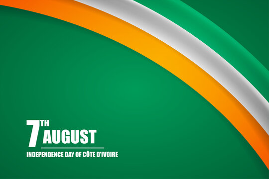 Happy independence day of Cote dIvoire country with tricolor curve flag and typography background